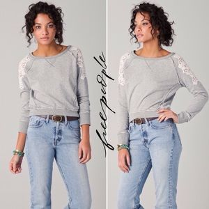 Free People Angel Tattered Lace Pullover Sweater